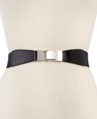 Style And Co. Skinny Lizard Print Stretch Belt Black Silver