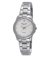 Kenneth Cole Diamond Accented Stainless Steel Bracelet Watch 10026478 Silver