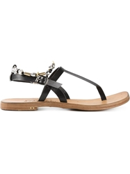 Silvano Sassetti Embellished T Bar Sandals Black