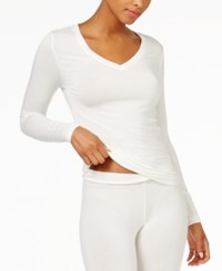 Cuddl Duds Softwear Long Sleeve V Neck Top Ivory
