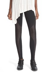Junior Women's Sun And Shadow Faux Suede Panel Leggings