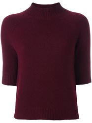 Theory Cropped Sleeves Jumper Red