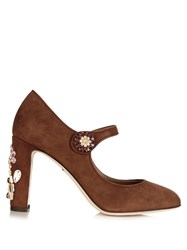 Dolce And Gabbana Floral Embellished Suede Pumps Tan Multi