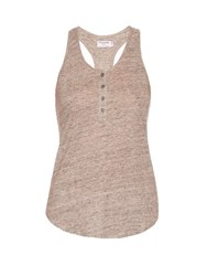 Frame Denim Henley Racer Back Linen Tank Top Grey