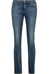 Simon Miller Comal Cropped Distressed Boyfriend Jeans Mid Denim