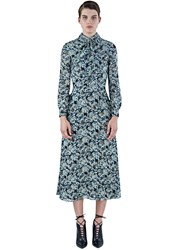 Saint Laurent Long Metallic Floral Embroidered Dress Blue