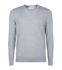 Burberry Check Detail Cashmere Sweater Male Grey