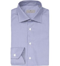 Canali Regular Fit Gingham Cotton Shirt Navy