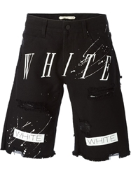 Off White Printed Distressed Denim Shorts Black