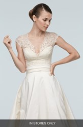 Women's Watters 'Anais' Cap Sleeve Lace V Neck Top In Stores Only
