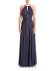 Phoebe Couture Pinstriped Halter Gown