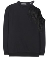 Christopher Kane Feather Embellished Cotton Sweatshirt Black