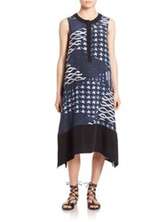 Public School Cyra Geometric Silk A Line Dress Navy