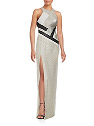 J. Mendel Colorblock Netted Gown White Multi