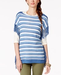 American Living Striped Boat Neck Fringe Sweater Only At Macy's Blue Multi