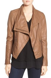 Trouve Women's Drape Front Leather Jacket Brown Saddle