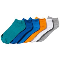 Adidas Performance No Show Training Socks Pack Of 6 Turquoise Dark Blue Multi