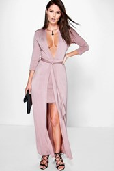 Boohoo Double Layer Tie Front Maxi Dress Rose