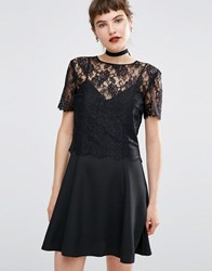 Miss Selfridge Lace 2 In 1 Cami Dress Black