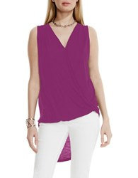 Vince Camuto High Low Front Twist Wrap Tank Purple