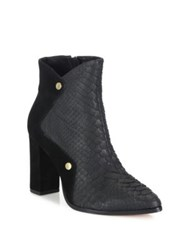 Alexandre Birman Python And Suede Block Heel Booties Gomma Black