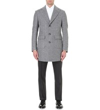 Corneliani Herringbone Silk And Wool Blend Overcoat Grey