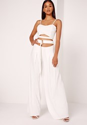 Missguided Wide Leg Buckle Waist Detail Trousers White White