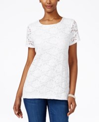 Charter Club Short Sleeve Crochet Top Only At Macy's Bright White