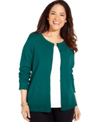 August Silk Plus Size Blend Cardigan Peacock Green