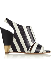 Chloe Striped Ayers Wedge Sandals