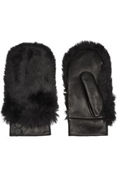 Karl Lagerfeld Faux Fur Paneled Leather Mittens Black