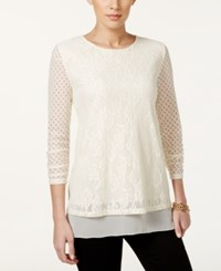 Styleandco. Style And Co. Petite Ruched Sleeve Lace Blouse Only At Macy's Vintage Cream