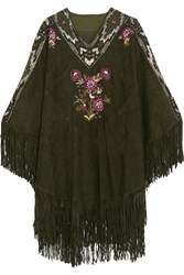 Haute Hippie Embellished Fringed Suede Poncho Green