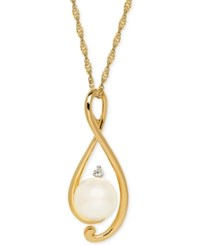 Macy's Freshwater Pearl 8Mm And Diamond Accent Twist Pendant Necklace In 14K Gold
