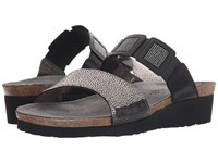 Naot Footwear Emma Silver Pebble Leather Black Black Rivets Black Raven Leather Women's Sandals Gray