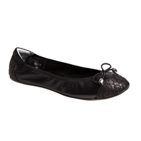 Bayswater Leather Foldable Ballerina Black