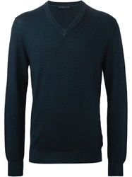 Etro V Neck Sweater Blue