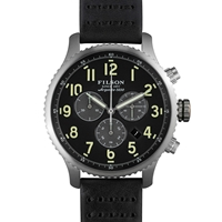 Filson Mackinaw Field Chrono Watch Black And Black Leather