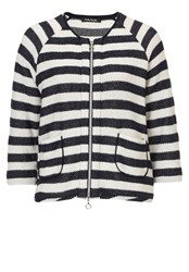 Betty Barclay Striped Cardigan With Zip Navy