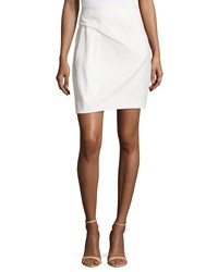 Halston Heritage Twill Draped Pencil Skirt Cream Ivory