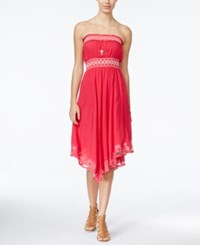 American Rag Embroidered Strapless Dress Only At Macy's Pink
