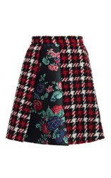 Msgm Houndstooth Plaid Mini Skirt