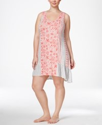 Ellen Tracy Plus Size Mixed Print Chemise Ivory