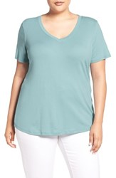 Sejour Plus Size Women's Short Sleeve V Neck Tee Blue Cameo