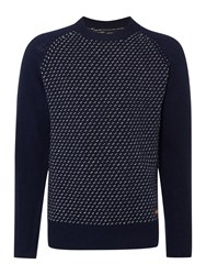 Army And Navy Peters Fairisle Crew Neck Jumper Navy