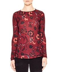 Sandro Cherry Printed Long Sleeve Tee Burgundy
