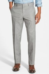 Wallin And Bros Flat Front Solid Cotton Blend Trousers Gray