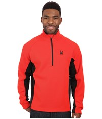 Spyder Outbound Half Zip Mid Weight Core Sweater Volcano Black Black Men's Sweater Orange