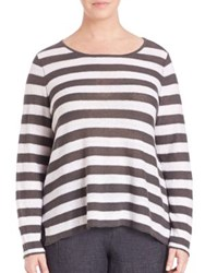 Eileen Fisher Plus Size Striped Linen Boatneck Boxy Top Bark White