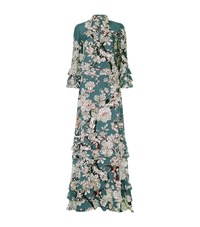 Valentino Floral Ruffle Gown Female Teal